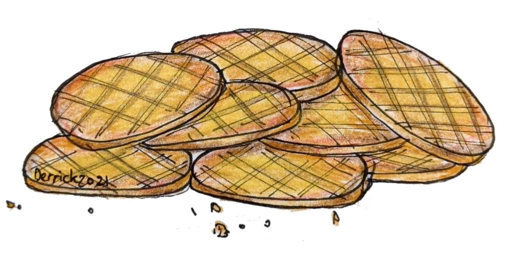 Illustration of French butter cookies from Brittany sable Breton