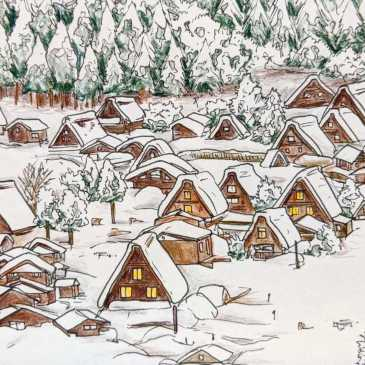 Drawing of the pointed roofs of traditional Japanese Shirakawa-Go village in the winter snow
